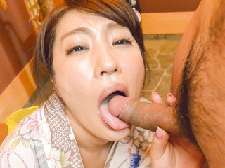 Wife Ryouka Shinoda kneels to suck this guy's dick