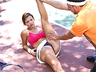 Beauteous brat chick Keisha Grey gets banged by her tennis trainor